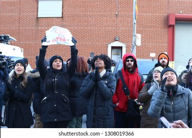 NEW YORK CITY - FEBRUARY 3 2019: Activists, community leaders & elected officials gathered in front of Brooklyn Metropolitan Detention Center to protest lack of heat & electricity for inmates.