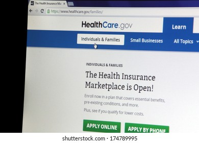 NEW YORK CITY - FEBRUARY 3, 2014:  The healthcare.gov website in New York City, New York,  on February 3, 2014. Healthcare.gov is the online health insurance marketplace for the Affordable Care Act.