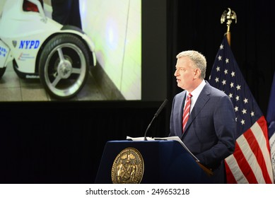 NEW YORK CITY - FEBRUARY 3 2015: Mayor Bill De Blasio gave his second annual state of the city at Mason Hall in Baruch College. Bill De Blasio speaks of the NYPD
