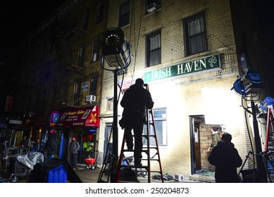 "NEW YORK CITY - FEBRUARY 4 2015: crews shooting an episode of the Fox series ""Gotham"" set up in Sunset Park, Brooklyn, using the popular local tavern Irish Haven, previously a site for ""The Departed"""