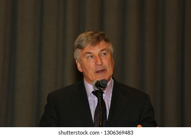 NEW YORK CITY - FEBRUARY 5 2019: the United Nations EAT Lancet Commission on Food offered its regular report on global health & nutrition trends. Actor & philanthropist Alec Baldwin