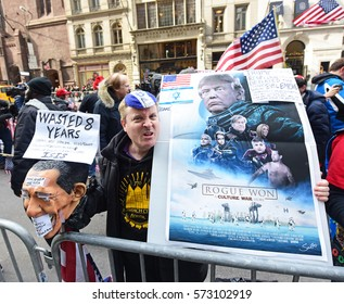 NEW YORK CITY - FEBRUARY 5 2017: Nearly 100 Trump supporters rallied in front of Trump Tower to show support for the President as about 30 opponents also demonstrated