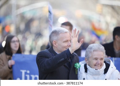 NEW YORK CITY - FEBRUARY 6 2016: Mayor Bill de Blasio and members of the NYC city council marched in Sunnyside's annual St. Pat's For All parade. NY city council member Jimmy Van Bramer