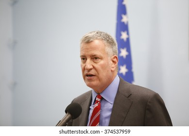 NEW YORK CITY - FEBRUARY 8 2016: day one of the Chinese Lunar New Year was marked by a fireworks ceremony, honors to Mayor de Blasio & thousands of confetti cannon. Mayor meets press about weather