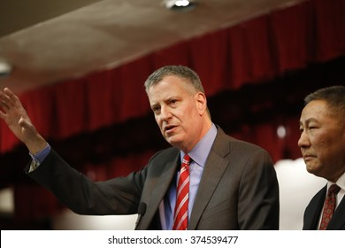 NEW YORK CITY - FEBRUARY 8 2016: day one of the Chinese Lunar New Year was marked by a fireworks ceremony, honors to Mayor de Blasio & thousands of confetti cannon. Mayor de Blasio honored by CCBA