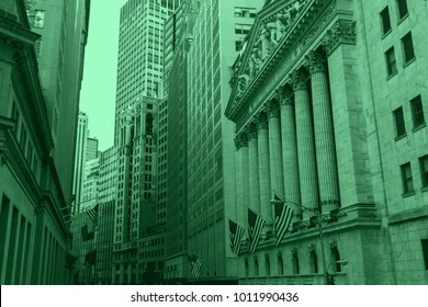 New York City financial buildings in money green colors