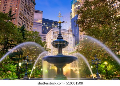 New York City financial district cityscape at City Hall Park.