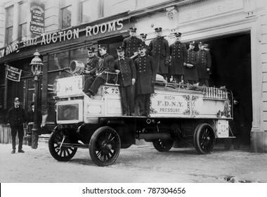 New York City Firemen on their high pressure motorized fire engine, c. 1908-16