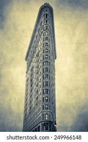 New York City Flatiron Building with artistic texture style