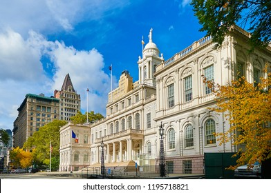 New York city government City Hall building in City Hall Park in the Civic Center area of Lower Manhattann. View from Nassau street and Broklyn Bridge side. Famous NYC sightseeing places
