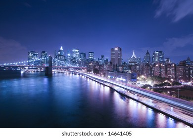 New York City highway traffic at night