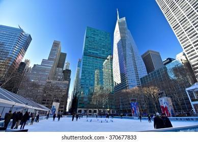 NEW YORK CITY - JAN 19, 2016: Ice skaters on Bryant Park in New York City.