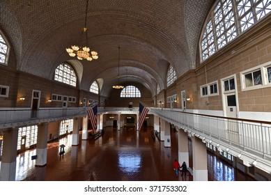 New York City, Jan 20, 2016: The beautiful architecture of Ellis Island Immigration Museum.
