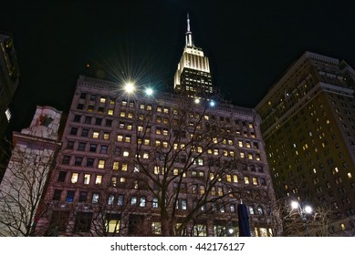 New York City, Jan 20, 2016: Empire state building at night