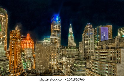 New York City, New York, Jan 2018, view of midtown Manhattan at nighttime  from the 29th floor