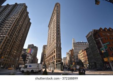 New York City, Jan 21, 2016 - Buildings around Madison Square Park.