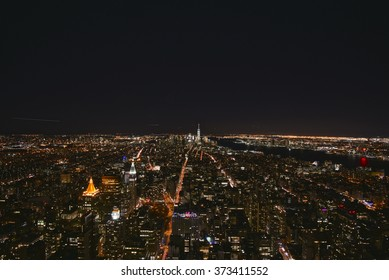 New York City , Jan 21, 2016: New York Skyline at night.