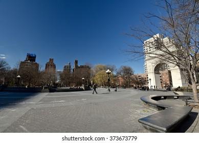 New York City, Jan 21, 2016: Winter at Washington Square in Greenwich Village, New York City.