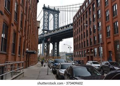New York City, Jan 22, 2016: Manhattan Bridge from Brooklyn.