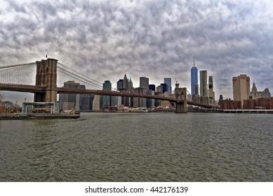 New York City, Jan 22, 2016: Brooklyn Bridge from Brooklyn.