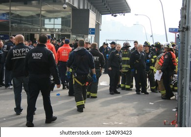 NEW YORK CITY - JAN 9: First responders at a ferry accident at Pier 11 in Lower Manhattan on January 9, 2013 in New York City, NY.