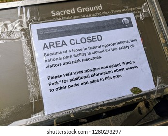 New York City - January 10, 2019: Sign outside a closed federal building in Lower Manhattan as the government shutdown continues.