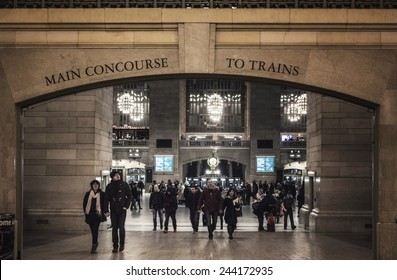NEW YORK CITY - JANUARY 10,2015: An estimated 700,000 tourists, commuters and visitors pass through Grand Central Station a day.