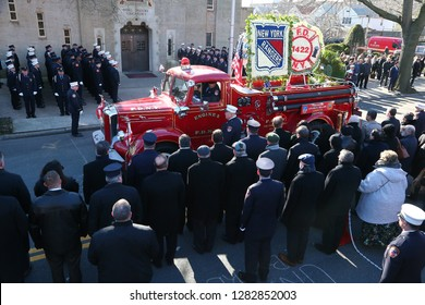 NEW YORK CITY - JANUARY 11 2019: Funeral services were held for probationary FDNY member Steven Pollard at Good Shepherd Church in Brooklyn's Marine Park.