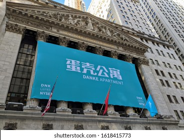New York City, January 17, 2020: Banner on the New York Stock Exchange Building celebrating the IPO of the Chinese online residential renting company Danke in Lower Manhattan.