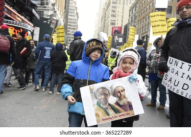 NEW YORK CITY - JANUARY 17 2016: Hundreds gathered in Times Square to protest the Saudi government's execution of dissident sheikh Nimr Baqir al-Nimr and demand the release of Sheikh Ibrahim Zakzaky.