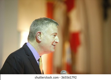 NEW YORK CITY - JANUARY 18 2016: Mayor de Blasio & other public officials mark Martin Luther King, Jr birthday with readings from his work at St Mary's Episcopal Church.