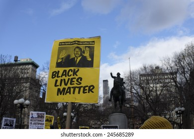 NEW YORK CITY - JANUARY 19 2015: several hundred activists gathered at Union Square Park prior to starting the Four Mile March on Martin Luther King's birthday.