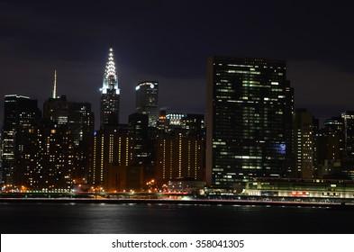 New York City - January 2, 2016: Gantry Plaza State Park, Long Island City, NY.