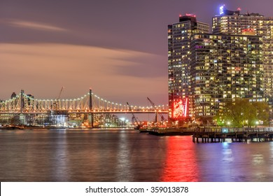 New York City - January 2, 2016: New York City skyline view from Gantry Park, Long Island City, Queens.