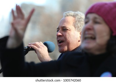 NEW YORK CITY - JANUARY 20 2018: Hundreds of thousands gathered to rally & march to commemorate the one year Women's March in protest of Trump's presidency. NY State Attorney General Eric Schneiderman