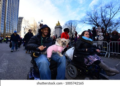 NEW YORK CITY - JANUARY 20 2018: Hundreds of thousands gathered to rally & march to commemorate the one year Women's March in protest of Trump's presidency