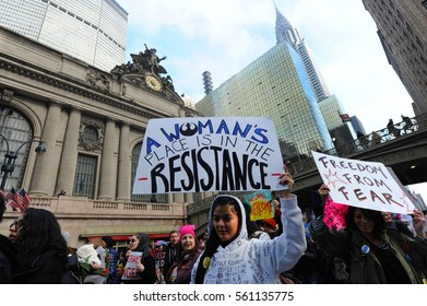 NEW YORK CITY - JANUARY 21, 2017: People march west on 42nd st. during the New York City's Women's March.