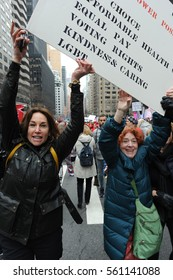 NEW YORK CITY - JANUARY 21, 2017: People participate in the Women's March in New York City.