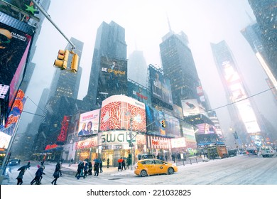 New York City - January 22, 2014: Snow weather in Manhattan Times Square
