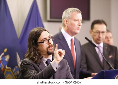 NEW YORK CITY - JANUARY 22 2016:  Bill de Blasio joined with commissioners to address preparedness for the city's first blizzard of 2016. Mayor de Blasio's message gets help from Jonathan Lamberton