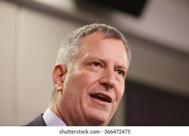 NEW YORK CITY - JANUARY 22 2016: NYC mayor Bill de Blasio joined with commissioners to address preparedness for the city's first blizzard of 2016. Mayor de Blasio opens press conference