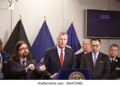 NEW YORK CITY - JANUARY 22 2016: NYC mayor Bill de Blasio joined with commissioners to address preparedness for the city's first blizzard of 2016. Mayor de Blasio fields questions from press