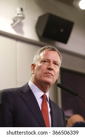 NEW YORK CITY - JANUARY 22 2016: NYC mayor Bill de Blasio gathered at the Office of Emergency Management with commissioners to address preparedness for the city's first blizzard of 2016.