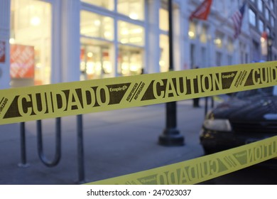 NEW YORK CITY - JANUARY 25 2015: a shooting at the Home Depot store in Chelsea left two employees dead in what is being called a murder-suicide. Crime scene tape cordoning off sidewalk