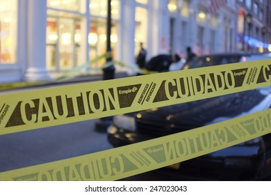 NEW YORK CITY - JANUARY 25 2015: a shooting at the Home Depot store in Chelsea left two employees dead in what is being called a murder-suicide. Crime scene tape set out in front of store
