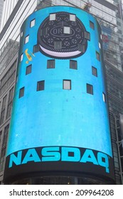 NEW YORK CITY - JANUARY 26 The headquarters of the NASDAQ Stock Exchange, the second largest trading market in the world in Times Square on January 26, 2014