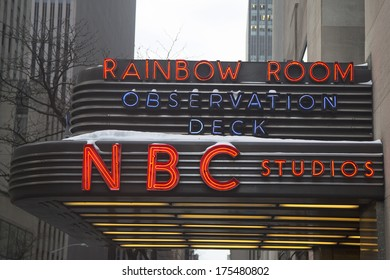 NEW YORK CITY - JANUARY 26:The famous Rockefeller Center is home to NBC studios, an observation deck, and the upscale nightclub Rainbow Room  on January 26, 2014 in New York City