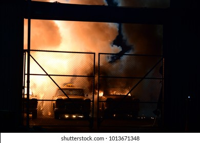 "NEW YORK CITY - JANUARY 27 2018: Gowanus, Brooklyn was the site of an effects shoot that blew up several Checker Cabs filming Martin Scorsese's ""The Irishman"". Explosion"