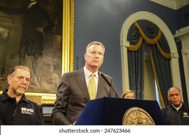 NEW YORK CITY - JANUARY 27 2015: Mayor Bill De Blasio joined with several of municipal commissioners to hold a press conference at City Hall updating on aftermath of winter storm Juno. Bill De Blasio