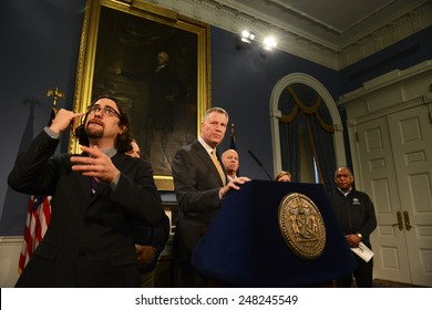 NEW YORK CITY - JANUARY 27 2015: deaf sign language interpreter Jonathan Lamberton emerged as a star on social media while translating for Mayor De Blasio during several Juno-related press conferences